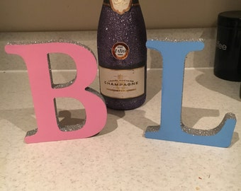 2 Free standing glitter letter ornaments personalised
