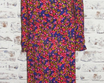 Size 12 14 extreme vintage 80s peplum dress long sleeve silky print (GQ06)