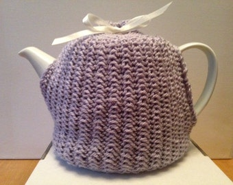 Hand Knitted Bespoke Lavender Tea Cosy