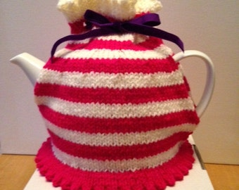 Bespoke Hand Knitted Striped Tea Cosy