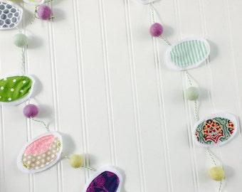 Felt Ball Garland,easter garland, easter banner,spring garland,easter egg garland, easter, easter decorations, Easter egg, colorful eggs,