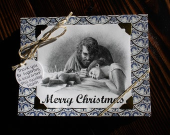 Hand Drawn Christmas Card Featuring the Holy Family