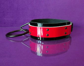 Collar - JumbO - Black and Red Patent Leather Collar - PinkPonyClubnl - BDSM Kinky Fetish Collar Adult
