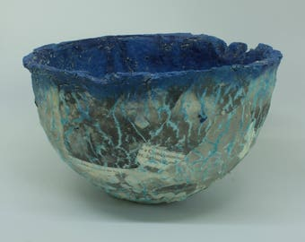 Handmade paper bowl. Blue with cloud poem.