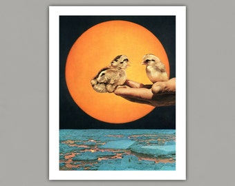 Surreal Collage Art Print, Birds and Sun, 8x10 print, 11x14 print, 12x16 print, wall art, retro, vintage art, art print