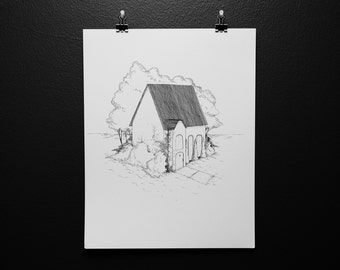 11x14 Little House with Ivy Ink Drawing