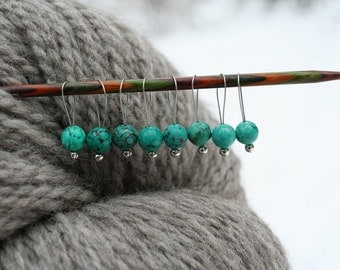 8  natural turquoise stone knitting stitch markers on a bracelet