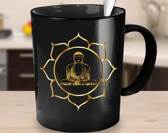 Golden Buddha Lotus Black Coffee Mug - Perfect Gift for Yogis - Mandala Zen
