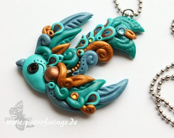 Brass jewelry necklace chain bird swallow wings blue hand modeled from Fimo Premo Polymer Clay stainless steel chain