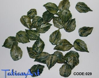 Autumn shades Leaf. 30 pcs  Tiny Leaf Beads 0.59-0.78 inch Polymer clay beads For making jewelry double-sided  leaf beads.