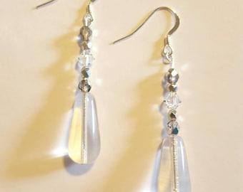 Clear Czech Crystal & Tear Drop Bead Sterling Silver Earrings