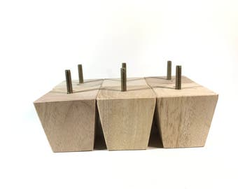 "For Murphy Michaels - Unfinished Tapered Wood Legs 4"" tall x 2-3/4"" Square Legs Ottoman Legs Sofa Legs Couch Legs (set of 16)"