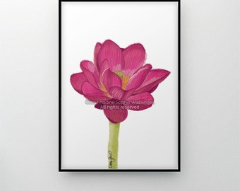 Lotus Flower Art Print, Lotus Art, Blooming Lotus, Lotus Painting, Yoga Art, Lotus Wall Art, Lotus Poster, Zen Wall Art, Flower Wall Decor