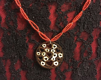 Wood burned Hearts of St. Valentine Necklace