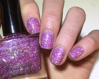 Sugarplum Sparkle by Positively Pawlished - Pink holographic glitter nail polish