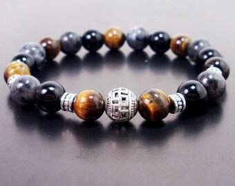 Labradorite, Onyx and Tiger Eye Handmade Bracelet 10mm, Men Bracelet,Mens Gift,Mens Bracelet,Gift for Men,Men Gemstone Bracelet,Gift for Him