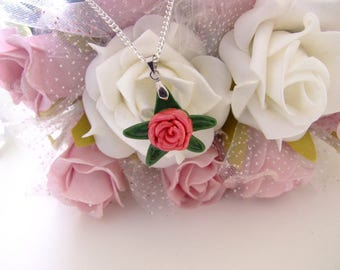 Pink Rose Necklace, Rose Pendant, Pink Rose Green Leaves, Beautiful Jewellery, Rose Jewelry, Pretty, Women, Gift for her, Pendant, Necklace
