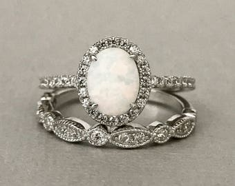 White Opal Art Deco Simulated Diamond Engagement Set Sterling Silver 2PC Fancy Wedding Engagement Promise Band Ring Set