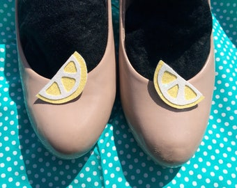 Glitter lemon shoe clips