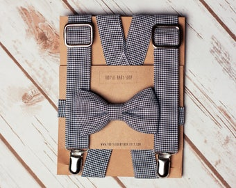 Navy and White Houndstooth Bow Tie/Suspender Set