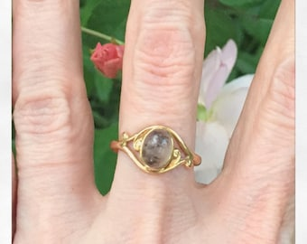 Antique Art Nouveau 10K Gold Dendritic Agate Ring