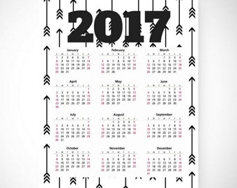 Printable 2017 Wall Calendar, ARROWS,  8.5x11 in, Desk Calendar, Instant Download, Black and White, Printable