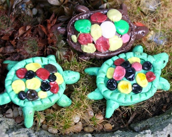 Turtles, garden ornament, tortoises, green brown, set of 3