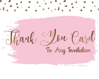Add On - Add a Matching Thank You Card Design To Any Invitation