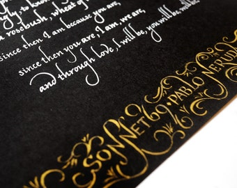 Custom wedding vow italic calligraphy on black paper gold flourish