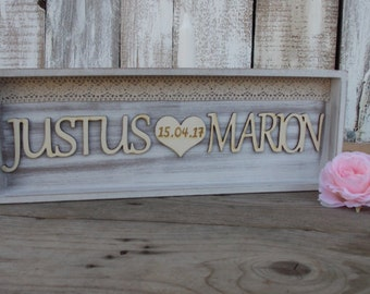 Wedding sign 'heart - wedding, couple, wedding gift, bride and groom, wedding sign, wedding accessoire, wedding decoration