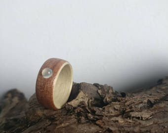 Moonstone - Sapele & Maple Wood Ring