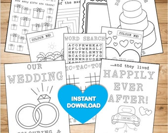 Kids Wedding colouring & activity book-  INSTANT DOWNLOAD - PDF Reception Game,Colouring pages,Printable colouring activity English Spelling