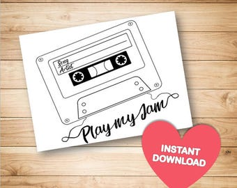 Printable Song Request Cards - Cards for Wedding Weddings Birthdays Invite and Occasions RSVP Pdf and Jpg printable