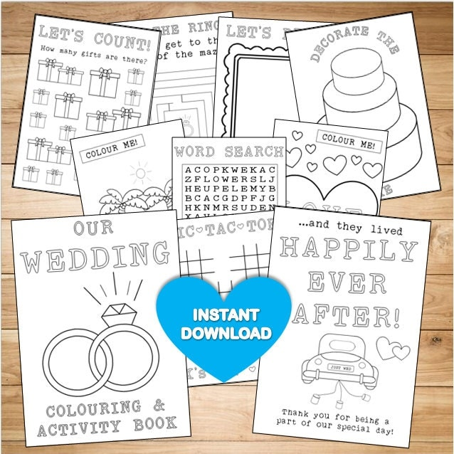 Wedding Coloring Pages Pdf : Kids wedding colouring activity book instant download