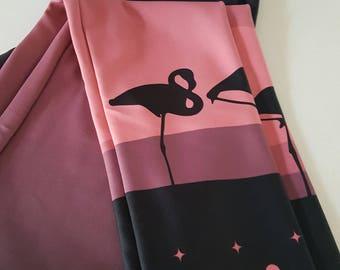 3/4 Leggings Flamingo Sunset Dusty Pink Black Art 60s Mod Activewear Tights