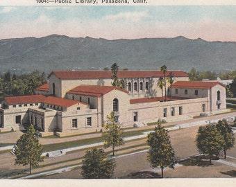 Pasadena, California Vintage Postcard - Pasadena Public Library