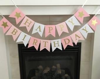 Star Birthday Banner, Happy Birthday Banner, Girl Birthday Banner, Girl Party Decoration, Pink and Gold, Photo Prop