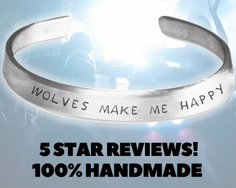 Wolves make me happy - Wolf & Wolves Jewelry Handmade Aluminum Bracelet - Wolves Clothing - Wolve Gifts - Wolves  Bracelet