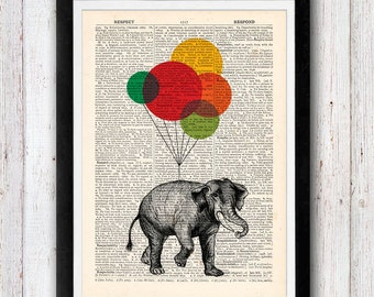 Elephant with Balloons Art Vintage Dictionary Page Book Art Print