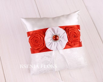 Ring Pillow, Ring Bearer Pillow, White Ring Pillow, Red Ring Pillow, Wedding Accessories for Brooch Bouquet