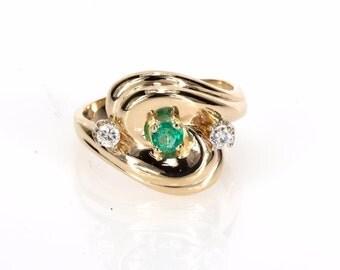 14K Yellow Gold Diamond & Emerald Ladies Dress Ring - 6.9 Grams - Size 7 1/2