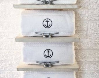 Nautical Towel Rack Coastal Storage Beach Decor Bathroom Shelf Restroom Powder Room