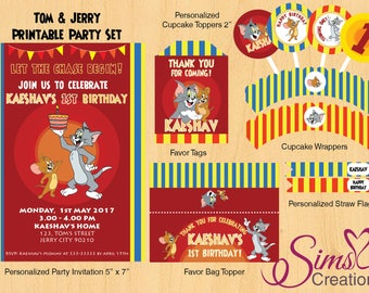 Tom & Jerry Birthday Party Printable, Tom and Jerry Party Decorations, Tom and Jerry Invitation, Tom and Jerry Party Supplies, Tom and Jerry
