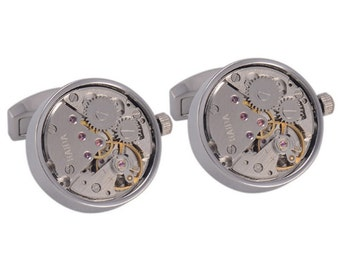 Silver Working Watch Movement Steampunk Skeleton Cufflinks