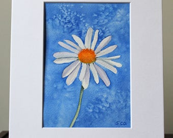 Daisy, Watercolor, Original,  Art with mat, Mothers Day Present, Flower Painting, Girlfriend present, Garden lover,  Donation, Animal Rescue