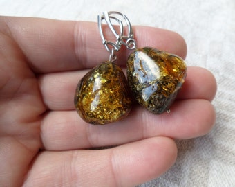 Genuin Baltic Amber Amazing Big Green Glittering Earrings 925 Sterling Silver