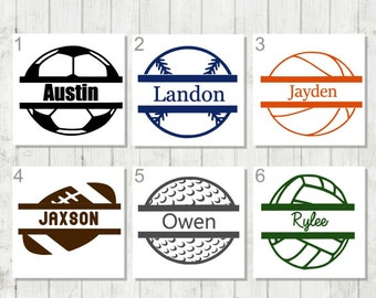 Sports Monogram Decal, Soccer Decal, Baseball Decal, Golf Monogram Decal, Volleyball decal, Basketball Decal, Sports Lover Gift, Ball Decal