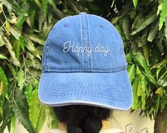 Happy Day Embroidered Denim Baseball  Black Cotton Hat Unisex Size Cap Tumblr Pinterest
