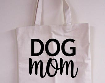 Dog Mom Natural Tote Bag