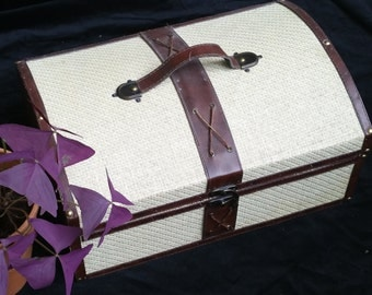 Small suitcase wood leather and cotton vintage